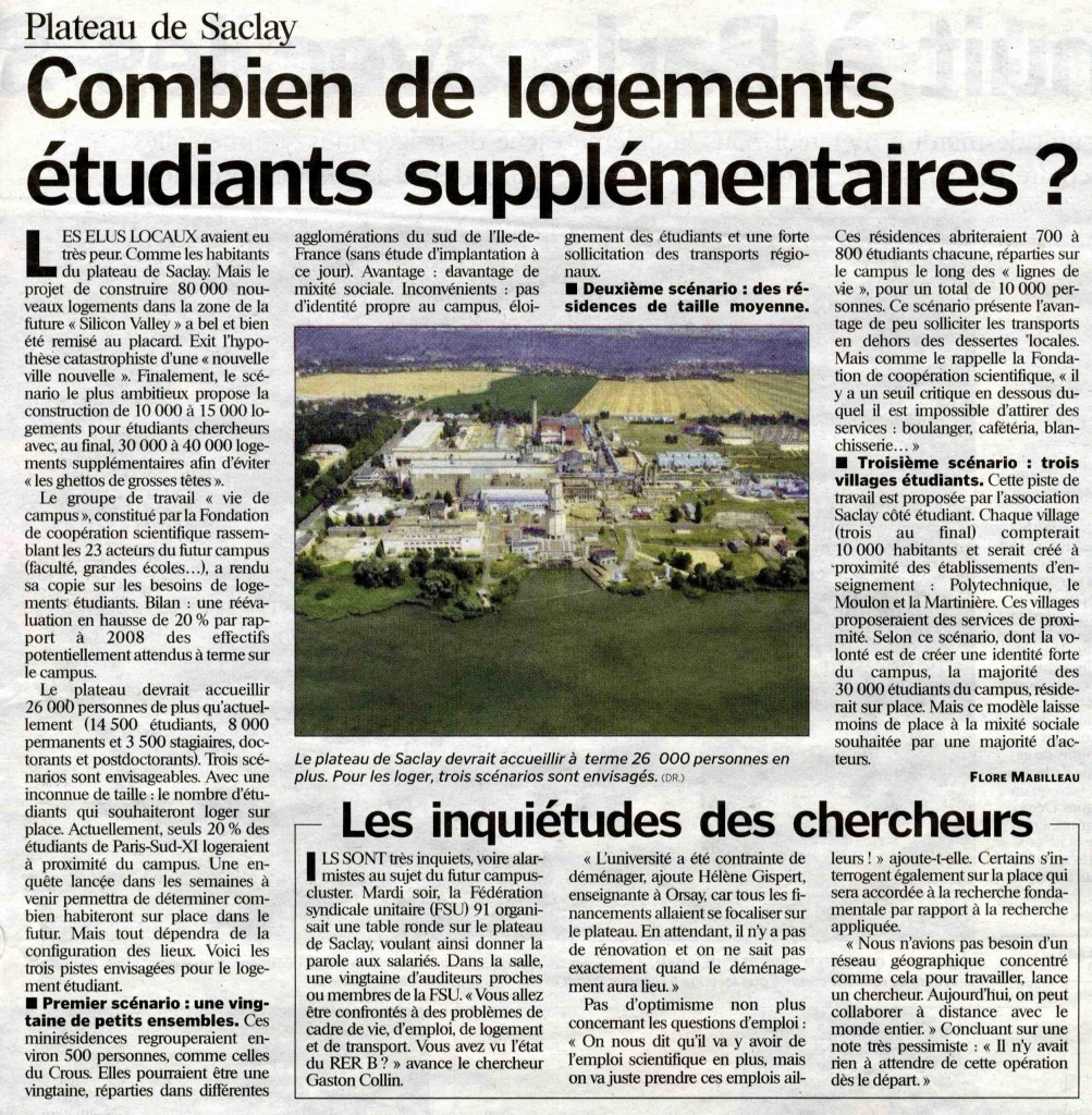 Article du Parisien sur le projet Plateau de Saclay