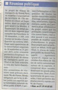Réunion Publique à Saint Quentin en Yvelines